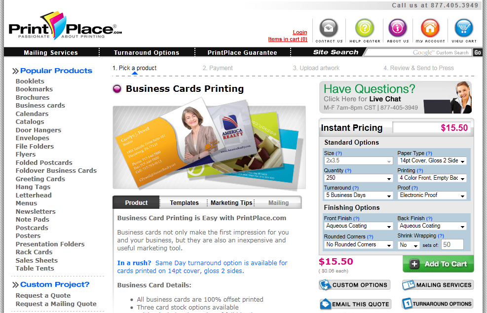 This is PrintPlace's home page.